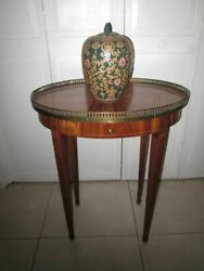 Antique Occasional Side End Table Round Mahogany One Drawer Brass Gallery