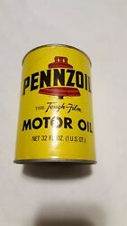Vintage Full Pennzoil Tough Motor Oil 1 Qt Paper Can Sae 30 No Rust Very Clean