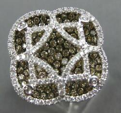 Extra Large 2.06ct White And Mocha Diamond 14k 2 Tone Gold 4 Leaf Clover Star Ring