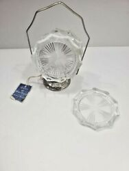 Vtg Eales Of Sheffield Silverplate Coaster Caddy Holder 6 Reims Glass Coasters