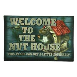Welcome To The Nut House Indoor/outdoor Rubber Mat 17 X 26 Inch Squirrel Design