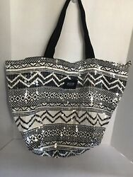 Victoria's Secret VS Pink Black amp; White Sequin Aztec Tribal Tote School Bag $95.20
