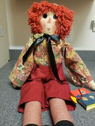 Raggedy Andy Doll 24 Inches With Tops Books Attached Raggedy Anne 2 Feet