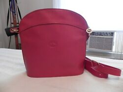 Longchamp Red Bucket Leather Medium Crossbody Purse 39670 Handbag $95.00