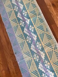 Vintage American Partial Camp Blanket Fabric, Yellow Green Lavender 63 X 21