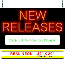 New Releases W/ Back Lit Write On Board Neon Sign   Jantec   32 X 20   Music