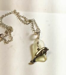 """Sterling Silver Manatee And Yellow Sea Glass Pendant Necklace, 18"""""""