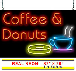 Coffee And Donuts Neon Sign   Jantec   32x 20   Coffee Shop Cafe Diner Breakfast
