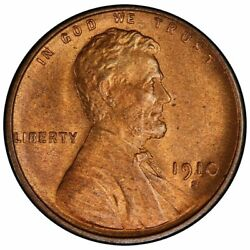 1910-s 1c Lincoln Cent - Type 1 Wheat Reverse Pcgs Ms66rd