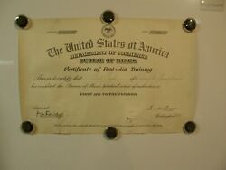 4008usa 1931 Dept Of Commerce Bureau Of Mines Certificate Of First Aid Training