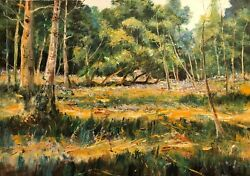 David Aldus Original Golden Wood Forest Country Life Glade Woody Oil Painting