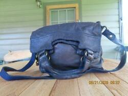 Lucky brand abbey road blue leather shoudlerbag purse fold over crossbody $49.99