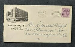 1932 Breen Hotel Advertising Cover St Cloud Mn To Pennsylvania