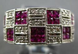 Wide 1.65ct Diamond And Ruby 14kt White Gold Princess Invisible Multi Square Ring