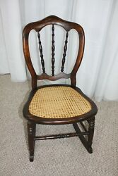 Antique Flame Mahogany Child Rocking Chair With Perfect Cane Seat