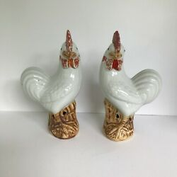 Pair Of Antique Chinese Porcelain Rooster Or Cockerel Figurines