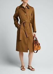 645 Vince Brown Cotton Linen Belted Trench Coat Jacket New Size Xs