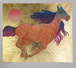 Guillaume Azoulay- Serigraph On Paper With Hand Laid Gold Leaf Vitesse