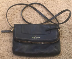 Kate Spade Black Leather Zip Top Fold Over Lined Cross Body Bag $28.00
