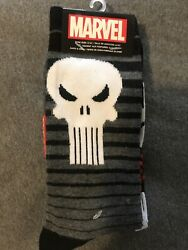 2 Pair Marvel Punisher Socks Men's Shoe Size 6-12 Crew Gift Black  Gray S5 M $9.99
