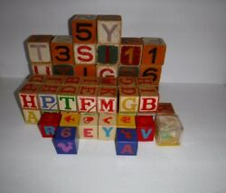 Vintage Lot Of 59 Toy Wooden And Plastic Blocks Alphabet Numbers Halsam