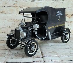 Hand Made Vintage New York Police Dept 1914 Wagon Car Great Detailed Statue Gift