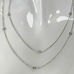 """1.00 Tcw Diamond By The Yard Station Necklace 14k Solid Gold G/ Vs2 36"""" White"""
