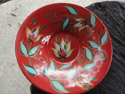 Gail Pittman Southern Living At Home Red Bountiful Flowers Round Serving Bowl