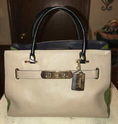 Coach Swagger Colorblock Pebbled Leather Carryall Satchel No. 36514 $76.00