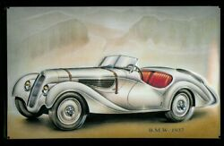 Bmw 1937 Classic Antique Car Embossed Metal Advertising Garage Wall Sign 30x20cm