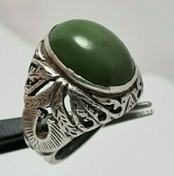 Turquoise Very Old Preserved Green Feroza Vintage Stone Sterling Silver Rings