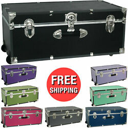 Footlocker Trunk Storage Wheels Wood Vinyl MoistureResistant 30in MultipleColors
