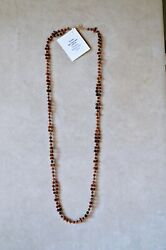 6mm Hessonite Agua Nueva Agate And Goldstone With Gold-fill Tantric Necklace