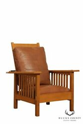 Mission Style Custom Quality Oak Spindle Morris Chair