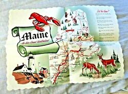 Vintage Paper Mat Illustrated Map Maine Vacation Land Kill Whitetail Deer 1950s