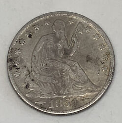 1854 O 50c Seated Liberty Silver Half Dollar Fifty Cents New Orleans