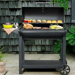 Outdoor Bbq Portable 35and034 Barrel Charcoal Grill W/ Sliding Ash Tray