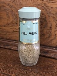 Vintage Schilling Spice Glass Jar Green Lid Dill Weed 1/2 Oz. Full