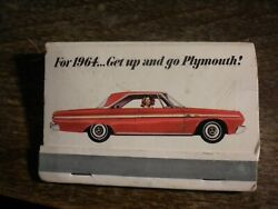 Rare Vintage Plymouth Matches Great Graphic And Advertising 1964