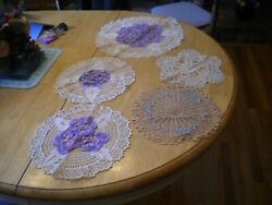 Vintage Doily Doilies W/ Hand Crochet Crocheted Pansies