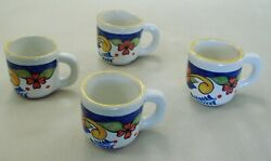 Pottery Ceramic Mugs Set Of 4 Hand Painted Floral Majolica Espresso Coffee Cups