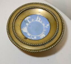 Rare Antique 1800and039s Wedgewood Jasperware Bronze Mounted Tazza Compote Bowl Blue