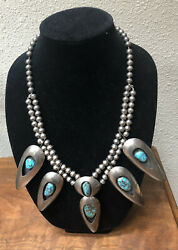 Large Vintage Navajo Native American Sterling Silver And Turquoise Necklace
