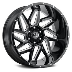 20x12 Vision Off-road 361 Spyder Gloss Blk Milled Wheels 8x180 -51mm Set Of 4