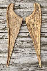 """Salvaged Pair Of 47"""" Large Wood Angel Wings Shabby Chic Or Christmas Decor"""