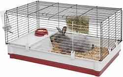 Rabbit Cage/house W/ Water Bottle, Food Bowl, And Hay Rack- Wire W/ Plastic Bottom