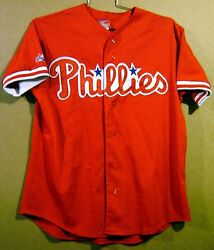 """Philadelphia Phillies Red Pre-game Jersey And Free """"road To The Show"""" T-shirts"""