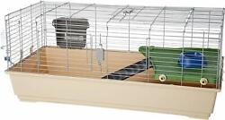 Small Animal Cage Rabbit 48.6 X 26.6 X 20.6 W/ Water Bottle, Hay Rack, And Dish