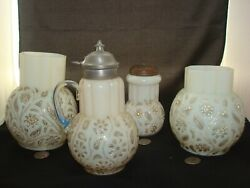 4 Antique Findlay Onyx Glass Items Syrup, Muffineer Sugar Shaker, 2 Celery Vases