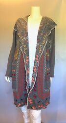 💖nwt Johnny Was Biya Embroidered Jeriko Long Hoodie Knit Duster Cardigan S 525
